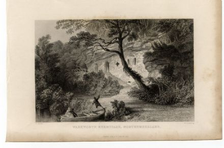1835 WARKWORTH HERMITAGE Northumberland COQUET RIVER Antique Print